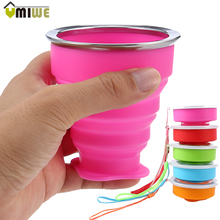 2017 Portable Outdoor Travel Silicone Folding Cup Foldable Water Cup Bottle 200ML Collapsible Drinking Bottles With Lid Rope