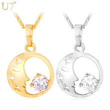 U7 Moon Necklace Women Jewelry Gold/Silver Color Hollow Star Cubic Zirconia Lucky Round Necklace & Pendant Wholesale P662(China)