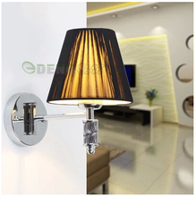 European creative living room wall lamp bedroom bedside lamp shade single head brushed wrought iron wall lamps(China)