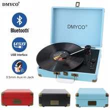 DMYCO Bluetooth 3-Speed Portable Stereo USB Vinyl Record Music Audio Bluetooth Player Support USB/Aux-in for CD Player On Sale(China)