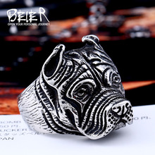 Beier new store 316L Stainless Steel ring top quality Pit Bull Bulldog Dog Rings Men Personality  Animal Jewelry LLBR8-181R