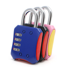 OOTDTY 2017 High Quality 4 Dial Digit Combination Suitcase Luggage Metal Code Password Lock Padlock Black/Light Blue/Pink(China)