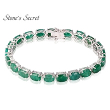 28.56CTW 8X6 Natural Emerald 100% 925 Sterling Silver Bracelet for Women Vintage Fine Jewelry Wedding Precious Gift for Mother