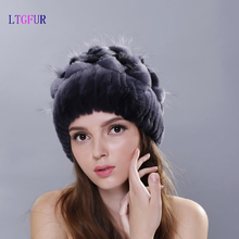 LTGFUR Women fur hat winter  rex rabbit fur cap  knitted beanies  Hats  Hand Sewing Skullies Strips Gradient Elastic  Headwear