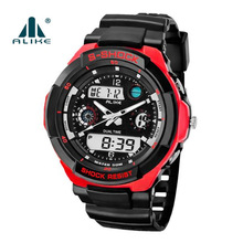 Brand Sport LED Analog Digital Watches Men Military 5ATM Waterproof quartz wrist watch causal relojes hombre Relogio Masculino(China)
