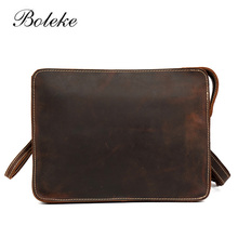 Men Crazy Horse Genuine Leather Clutches Woman Vintage Hand Bag Large Purse iPad Small Cowhide Messenger Shoulder Bag 1150(China)