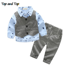 Newest Autumn baby boy clothing set Newborn Clothes Sets gentleman three pieces sets (Vest+t-shirt+pants) free shipping(China)