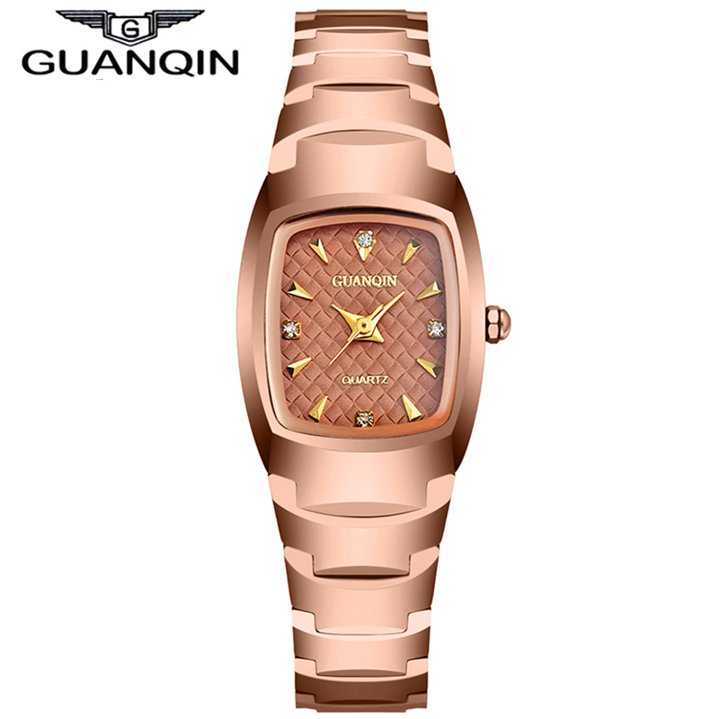 GUANQIN Fashion Women Watches with Tungsten Bracelet Female Quartz Watches Women Waterproof Clock with Rhinestone Dial <br><br>Aliexpress