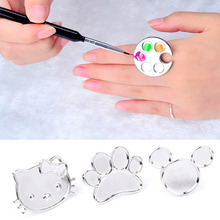 DIY Nil Arts MUST HAVE Polish Palette Ring Disk 3D Nail Art Salon Polishes Plate Gel Glitters Drawing Apply Manicure Tools(China)