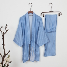 Men's Pajamas kimono Cotton Sleepwear Double Layer Gauze Pyjamas Men Lounge Pajama Set Loose stripe(China)