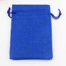 Wholesale 100pcs Royal Blue Jute Bags 7x9cm Small Drawstring Gift Bag Wedding Favors Jewelry Charms Packaging Linen Bag Pouches(China)