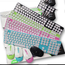 Manufacturers sale ultra-thin high quality non-noise round key wireless keyboard mouse combos home office keyboards mouse suits(China)