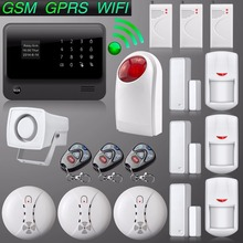 G90B English Russian Voice GSM Auto Dial Alarm System IOS Android APP Remote Control GSM Wireless WiFi Home Alarm System