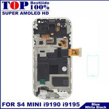 Top Quality LCD For Samsung Galaxy S4 mini i9190 i9195 i9192 Phone LCDs Display Touch Screen Digitizer Assembly with Frame