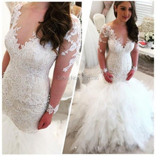 New Arriva Sexy Wedding Dresses Lace Mermaid Bride Dress Wedding Gowns Long Sleeves Vestido de Noiva Sereia 2017