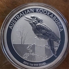 Non Magnetic coin ! DHL Free shipping,50pcs/lot 2016-P Australia $1 1 Troy Oz Silver Kookaburra coin,replica(China)