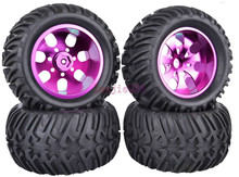4PCS RC 1/10 Monster Bigfoot Truck Rubber Tyres Tires & Metal Wheel Rim 12mm HEX purple  880P
