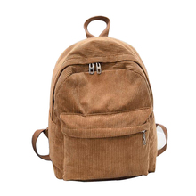 New Women Backpack 2017 Solid Corduroy Backpack Simple Tote Backpack School Bags For Teenager Girls Students Shoulder Bag C2669