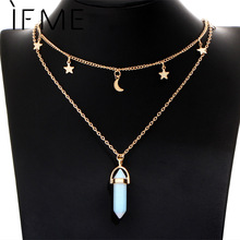 IF ME Fashion Natural Opal Stone Moon Star Choker necklaces for Women Gold Color Double Layer Crystal Pendant Necklace Jewelry