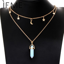 IF ME Fashion Natural Opal Stone Moon Star Choker necklaces for Women Gold Color Double Layer Crystal Pendant Necklace Jewelry(China)