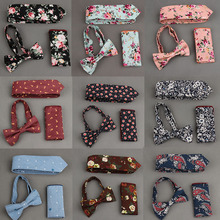 Mantieqingway Mens Bowtie Hanky Tie Sets Cotton Floral Printing Necktie and Handkerchief Sets Wedding Pocket Square Bow Tie