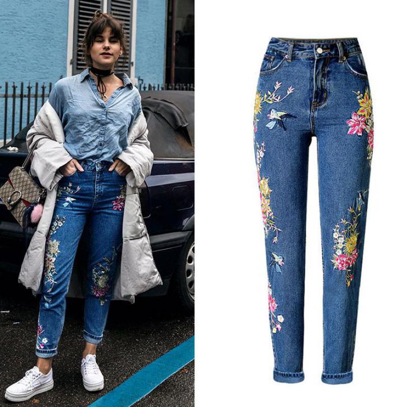 Jeans Pantalon Femme Women High Waist Tumblr 2017 Fashion Embroidery Las Denim Blue Feminino Mujer Plus Size In From S