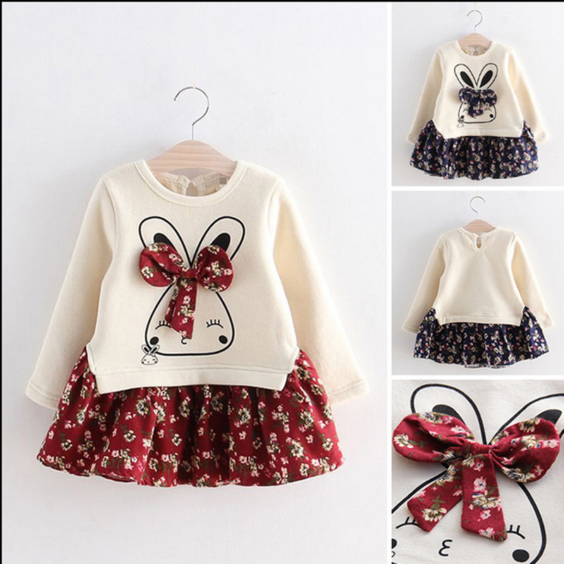 fashion dress for girls long sleeve Cartoon Rabbit with bowknot Princess Dress floral spring children clothing 2019 kids costume