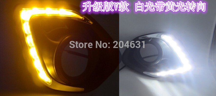 Upgrade ! 9 LED Car DRL Daytime running lights With yellow steering for Mitsubishi ASX 2013 2014,plating fog lamp frame fast air<br><br>Aliexpress