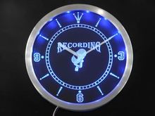 nc0283-b Recording On The Air Radio Studio Neon Sign LED Wall Clock
