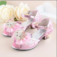Girls Heel Shoes Hello kitty Sandals 2016 New Children Shoes High Heels Princess Bow Sweet Sandals Beaded Shoes For Girls(China)