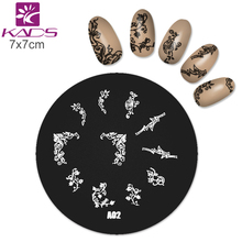 KADS Nail Stamp A02 Series Round Medium Size Black Flower Lace Nail Stamping Plates Nail Art Stamp Template Manicure Nail Tools