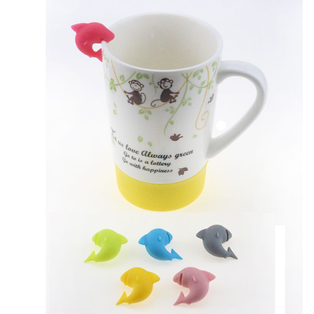 5PCS Glass Cup Markers Squirrels Wineglass Label for Hanging Tea Bag Holder Q