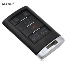 KEYYOU Replacement 6 Buttons Smart Remote Key Case Entry Fob Key Shell Cover For Cadillac CTS DTS WITH LOGO Free Shipping