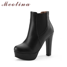 Meotina Women Boots Shoes Women High Heels Ankle Boots Winter Boots Zip Ladies Shoes Sexy Platform High Heels Big Size 44 10 11
