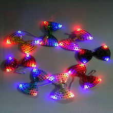 8Pcs Male/Female Fashion Led Luminous Bow Tie LED Holiday Light Up Flashing Sequin Adjustable Tied+3XAG13 Button Battery