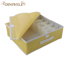 DINIWELL 10 Cell Colorful Coverd  Nonwoven Foldable Underwear Organizer Closet Drawer Storage Box For Socks Ties Bra Lingerie