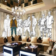 Free shipping Custom retro wood Bar KTV TV backdrop Hand painted men clothing store decoration wallpaper mural