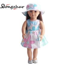 18'' American Girl Doll Clothes Children's Home Game Dress Up handmade derss 18 Inch American girl Doll Flower Skirt&Hat Suit(China)