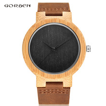 Wholesale Low Price High Quality Fashion Casual Japanese Quartz Movement Bamboo Wood  Wrist Watch Men's Watch Best Gift  W006
