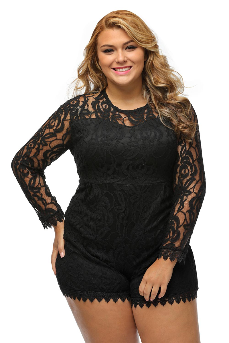 Black-Plus-Size-Long-Sleeve-Lace-Romper-LC60599-2-57318