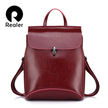 REALER brand high quality cow split leather women backpack vintage backpack for teenage girls casual bags female shoulder bags(China)