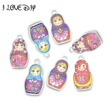 Buy Wholesale 4 Mixed Color 2 sides Enamel Matryoshk Russian Doll Charm Pendants Jewelry Making for $2.00 in AliExpress store