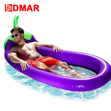 DMAR 250CM 100inches Inflatable Giant Eggplant Pool Float MattressWater Party Toys Sunbathe Bed Swimming Ring Circle Beach Mat(China)