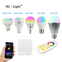 Milight Led Bulb 4W 5W 6W 9W GU10 E27 E14 RGBW RGBWW Lamps Wireless Wifi Controller Box 4-Zone 2.4G RF Remote Controller(China)
