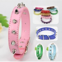 (12 piece / lot ) Designer perro Collar For Small Large Big Dog Pink Blue Green Purple Red Studded Dog collar Spiked Dog collar(China)