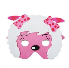 KIDS JUNGLE ANIMAL MASK FOAM EVA FANCY DRESS PINNATA LOOT PARTY BAG FILLERS TOYS bow SHEEP(China)