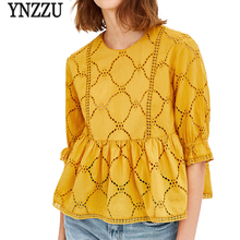 Buy YNZZU 2018 Spring Women Yellow Blouse Shirt Elegant Embroidery O Neck Loose Female Blouses Tops blusas Women's Clothing YT369 for $17.99 in AliExpress store