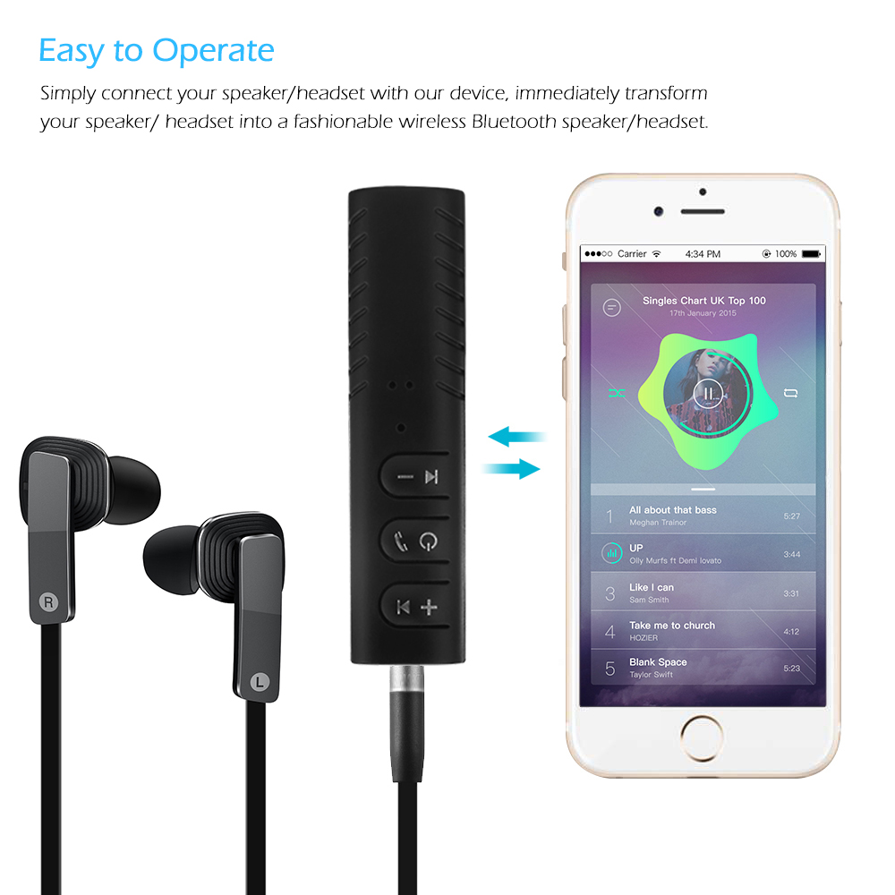 3.5mm jack Bluetooth Car Kit Hands free Music Audio Receiver Adapter Universal Auto AUX  Kit for Speaker Headphone Car Stereo