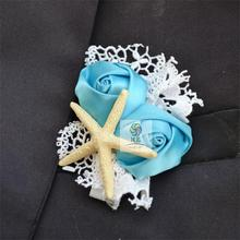 Handmade artificial flowers wedding flower corsage and groom fabric rose sea wind sea star wedding accessories