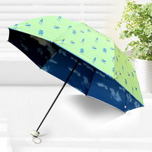 Lovely Light Umbrella Three Folding Blue Sky Umbrella Rain Women Female Pink Green Blue Umbrellas For Gilrs
